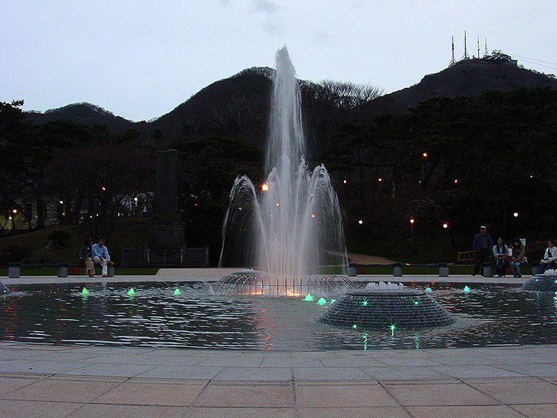 函館公園噴水付近