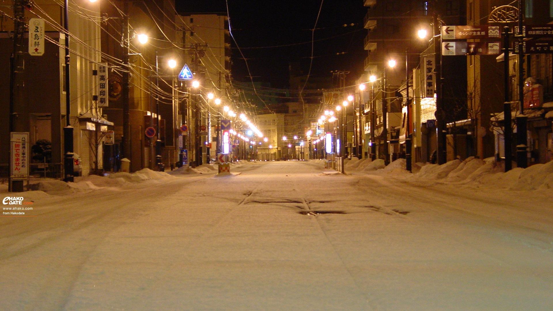 真夜中の雪道と十字街 函館フォト散歩壁紙 函館市 道南地域