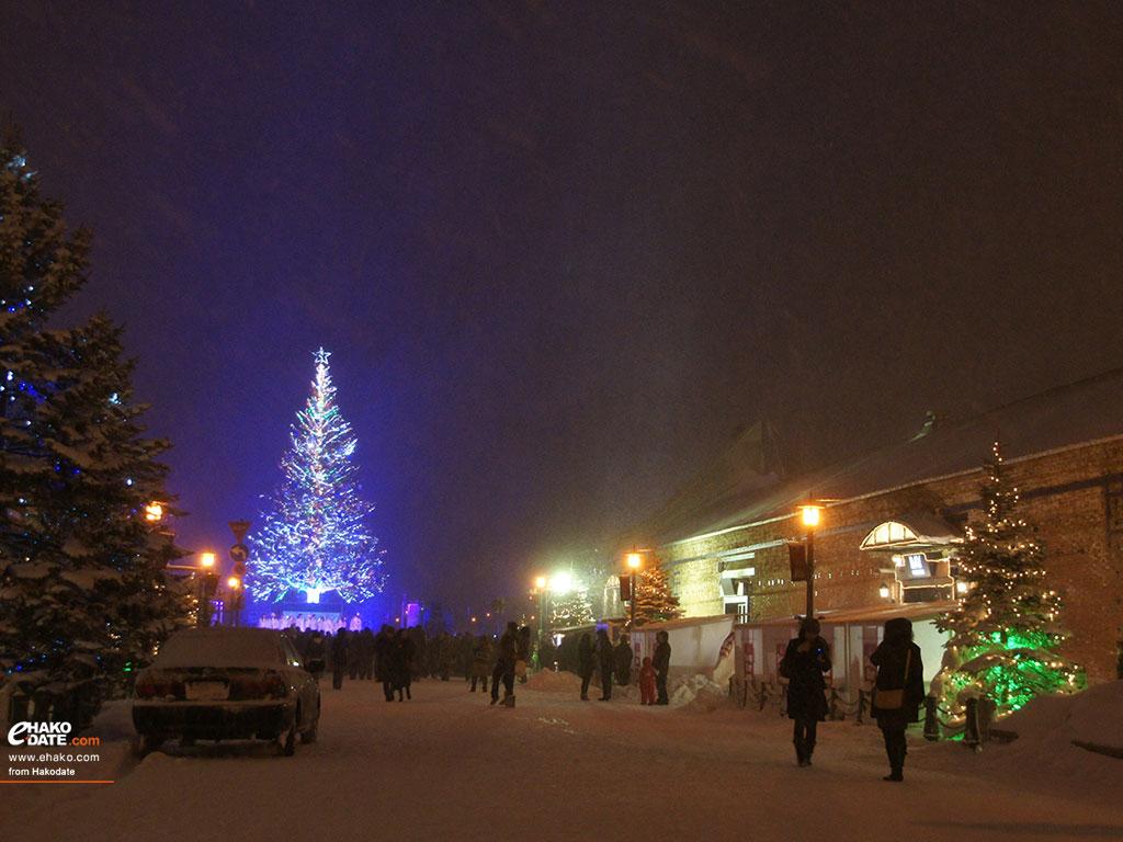 雪降るクリスマスファンタジー 函館フォト散歩壁紙 函館市 道南